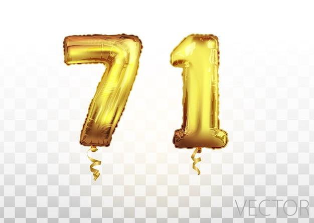 Вектор золотой фольги номер 71 семьдесят один металлический шар. партия украшения золотые шары. юбилейный знак для счастливого праздника, празднования, дня рождения, карнавала, нового года. изобразительное искусство