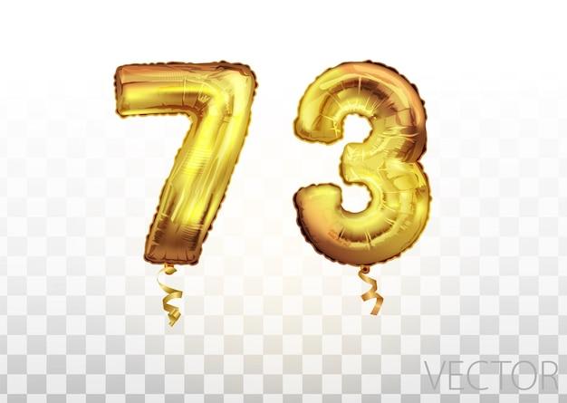 Вектор золотой фольги номер 73 семьдесят три металлических шара. партия украшения золотые шары. юбилейный знак для счастливого праздника, празднования, дня рождения, карнавала, нового года. изобразительное искусство