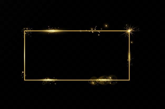 Vector golden frame. shining rectangle banner.