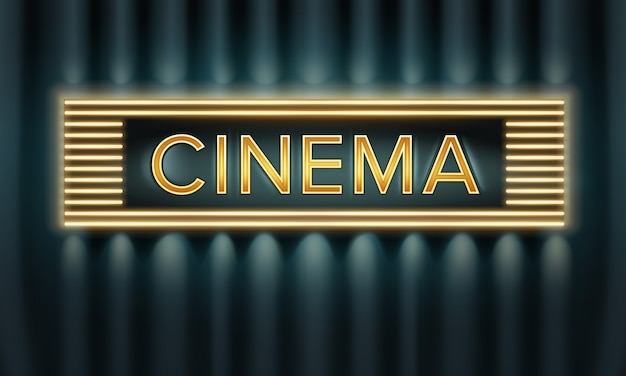 Vector golden illuminated cinema signboard front view on dark background