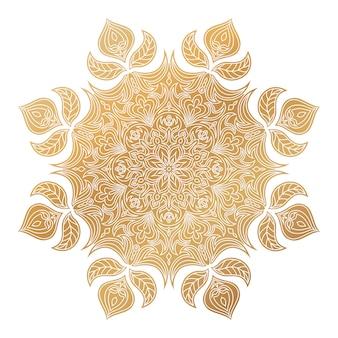 Vector golden mandala ornament. vintage decorative elements.