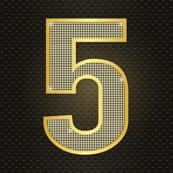 Vector golden number five 5 fifth year anniversary celebration realistic shining icon for birthday