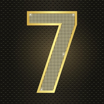 Vector golden number seven 7 seventhyear anniversary celebration realistic shining birthday icon