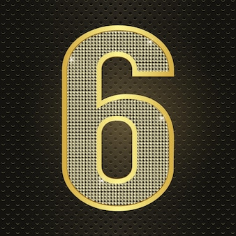 Vector golden number six 6 sixth year anniversary celebration realistic shining icon for birthday