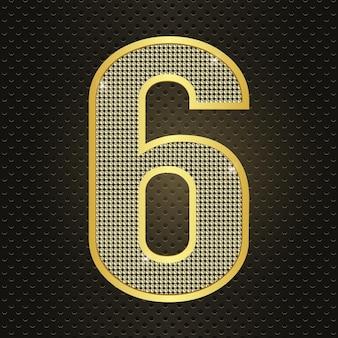 Вектор золотой номер шесть 6 шестой год празднования годовщины реалистичные сияющий значок на день рождения