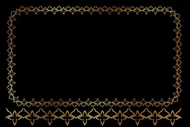 검은 배경에서 벡터 황금 사각형 꽃 프레임