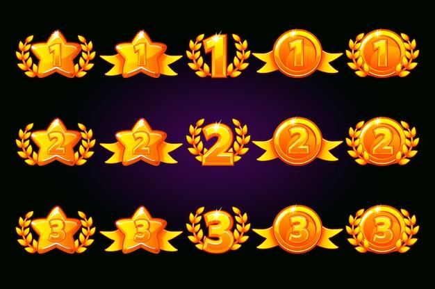 벡터 황금 보상 아이콘을 설정합니다. 1 위, 2 위, 3 위는 다른 변형입니다. 승리와 골드 스타 또는 게임, ui, 배너, 앱, 인터페이스, 슬롯, 게임 개발의 월계관. 별도 레이어의 아이콘