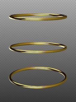 Вектор золотые кольца, изолированные на прозрачном фоне. золотой декоративный
