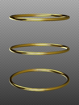 Vector golden rings isolated on transparent background. golden decorative