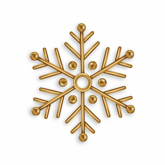 Vector golden snowflake isolated on white background