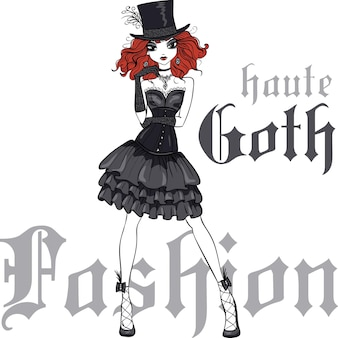 Vector goth girl in black dress and silk hat