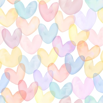 Vector gradient mesh watercolor drawing multi colors overlapping heart shapes seamless pattern