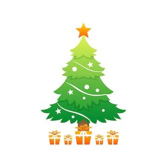 Vector gradient style christmas tree logo