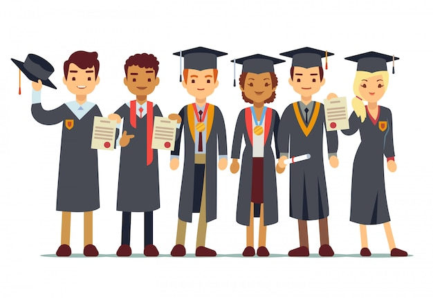 Vector graduation concept with students