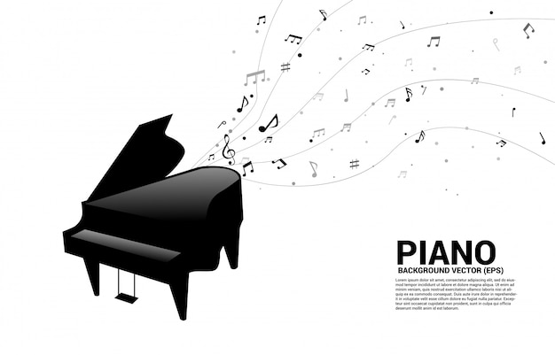 Vector grand piano with music melody note dancing flow