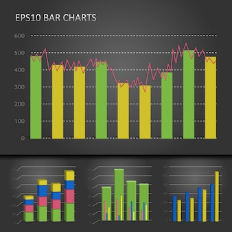 Vector graph bar chart patterns on dark