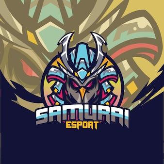 Vector graphic of esport logo design with bird samurai perfect to use for logo gaming