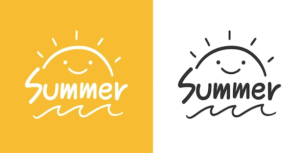 Vector graphic illustration hand drawn summer sun and sea for design.
