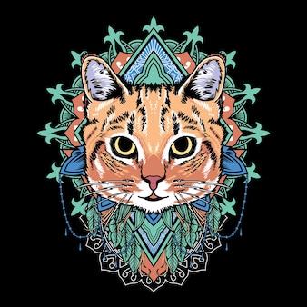 ヴィンテージレトロな曼荼羅アートスタイルと猫曼荼羅漫画のベクトルグラフィックイラスト