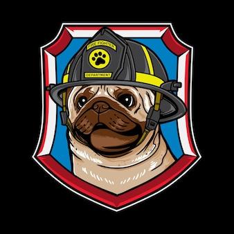 ヴィンテージレトロ消防士スタイルのパグ犬漫画のベクトルグラフィックロゴデザイン