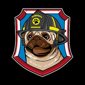 Vector graphic logo design of pug dog cartoon with vintage retro fire fighter style