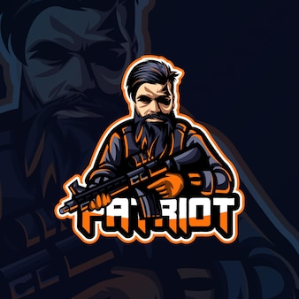 Векторная графика дизайна логотипа esport с изображением человека и пистолета идеально подходит для использования в logo gaming