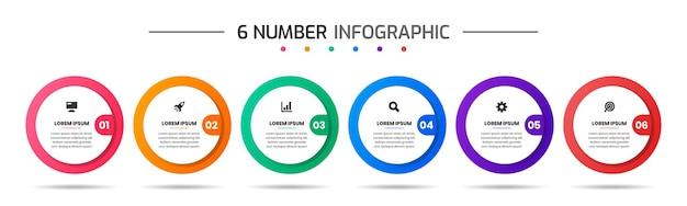Векторная графика шаблонов дизайна инфографических элементов с иконками и 6 цифрами