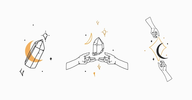 Vector graphic outline logo collection set with crystalsmoonstars in human handsastrology mystic min...