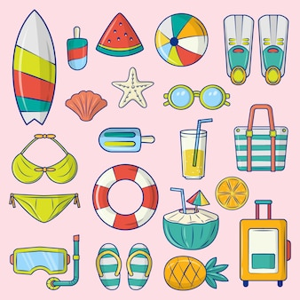 Vector graphic set of summer element