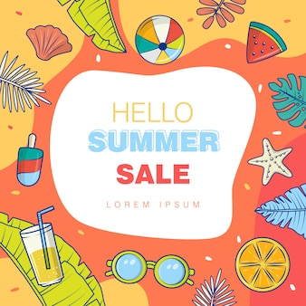 Vector graphic of summer sale concept design, color full background