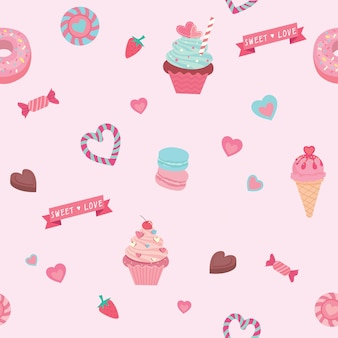 Vector graphic of the various sweets  and desserts decorated into seamless pattern.