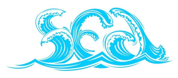 벡터 그래픽입니다. 예술적 레터링 단어 바다 푸른 파도