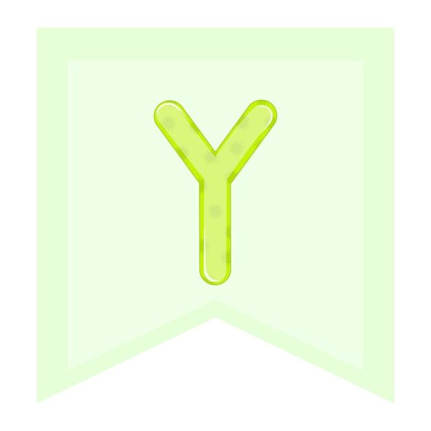 ベクトルグラフィックス。子供のアルファベット、カラフルな文字。文字「y」。