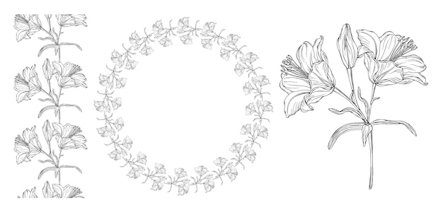 Vector graphics of a floral composition
