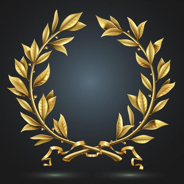 ベクターグラフィックス。ゴールデンアンティークリアルなヴィンテージ勝者月桂樹のリース。
