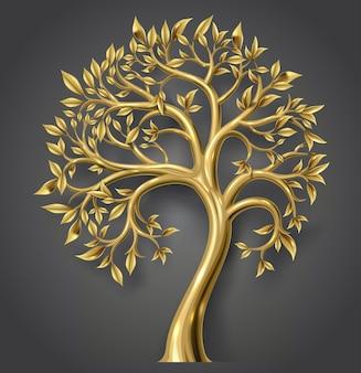 Векторная графика. золотое декоративное сказочное дерево с листьями. прозрачная тень