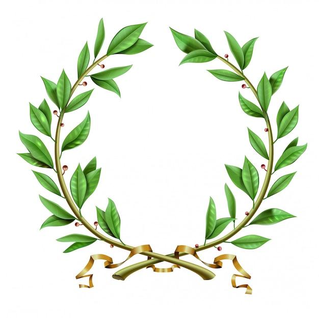 ベクターグラフィックス。緑のアンティークの現実的なヴィンテージの勝者の月桂樹のリース。