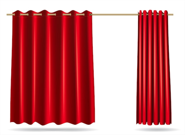 Vector graphics . a set of red curtains for changing rooms lockers for the store, hospital