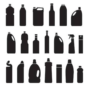 Vector gray silhouette set of illustration bottles cans container icon