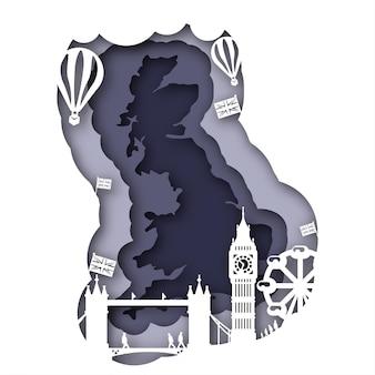 Вектор великобритании в стиле бумажного искусства