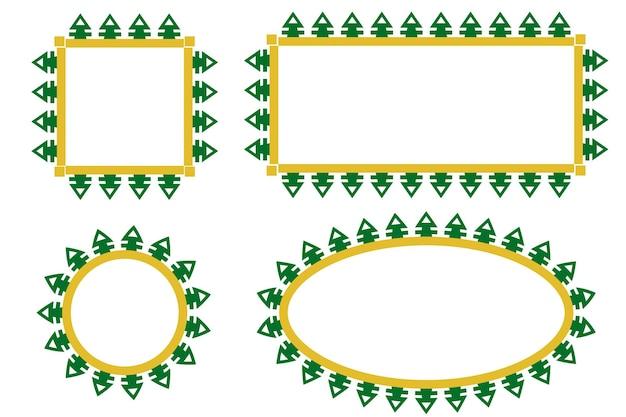 Вектор зеленые и желтые ворота границы или украшение кадра традиционный дом бетави старой джакарты, индонезия