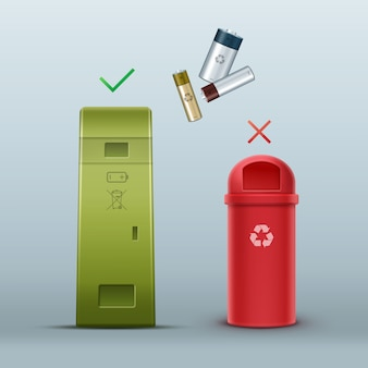 廃棄物の分別正面図のベクトル緑バッテリーリサイクルビン