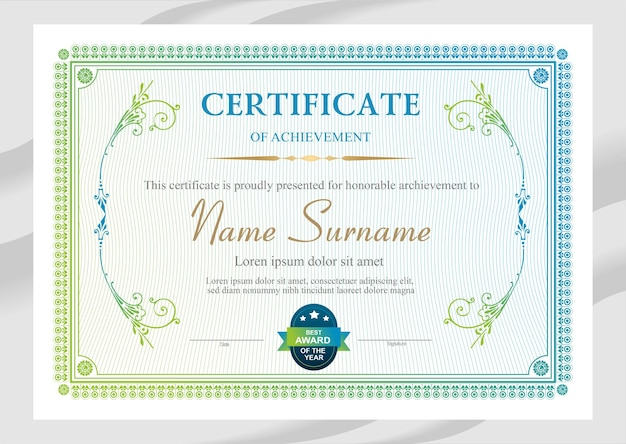 Vector green and blue certificate template