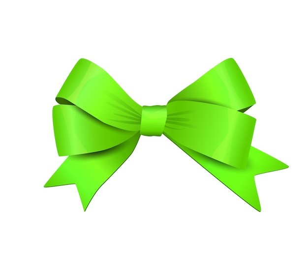 Vector green bow isolated on white background decorative design element