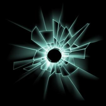 Vector green broken glass window with bullet hole on dark black