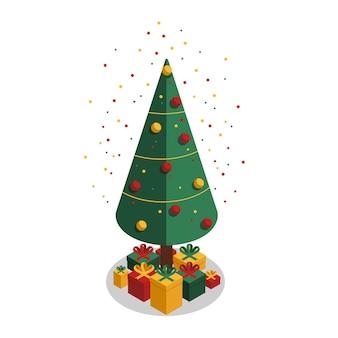 Вектор зеленая рождественская елка украшена рождественскими игрушками, шариками, гирляндой и подарками