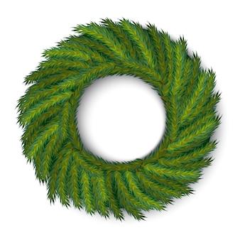 Вектор зеленый рождественский венок, глобальные цвета