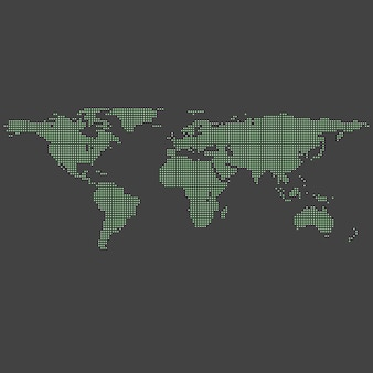 Vector green dotted world map on grey