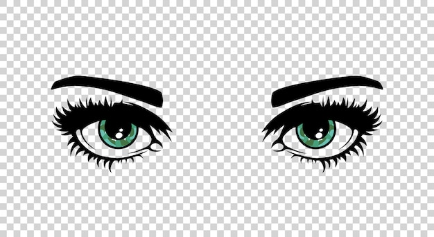 Vector green female eyes