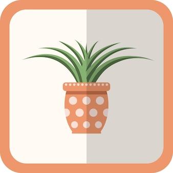 鍋に緑の平らな植物をベクトルします。影付きのシンプルな花のアイコン。デザイン、ゲーム、コンセプトのための漫画のガーデニング装飾要素。